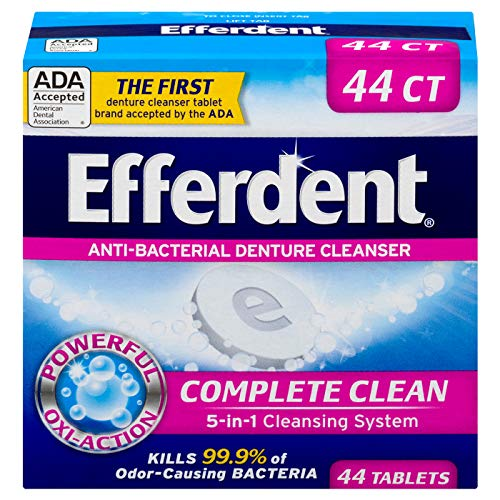 (Efferdent Anti-Bacterial Denture Cleanser | 5-in-1 Cleansing System | 44 Tablets)