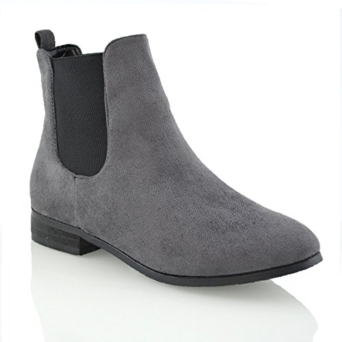 ESSEX GLAM New Womens Ladies Chelsea Block Heel Faux Suede Elastic Work Ankle Boots Size Grey Faux Suede 447UTdD