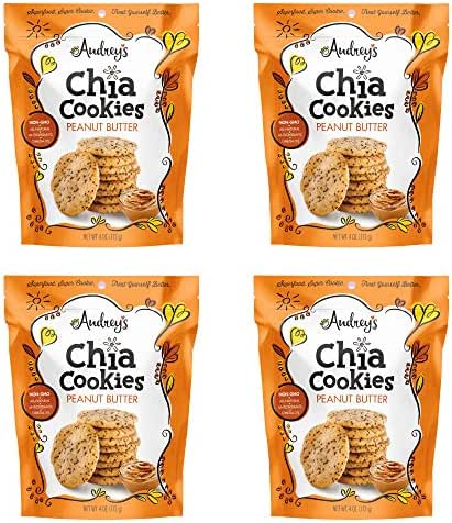 Audrey's Chia Cookies - (Peanut Butter, 4 Pack), Natural, Antioxidants, Omega-3's, Non-GMO