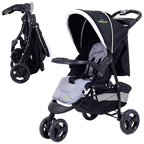 3 Wheel Foldable Baby Kids Travel Stroller Pushchair Buggy Newborn Infant - Black