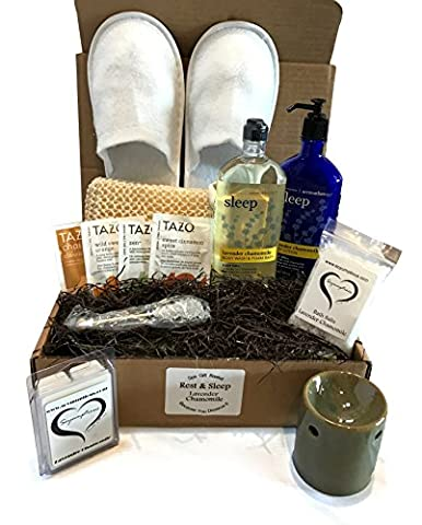 Bath & Body Works Spa Gift Baskets - Aromatherapy Gift Set - Because You Deserve It --Stress Relief -or- Energizing Options Available (Rest & Sleep - DELUXE Lavender - Energy Gift Basket