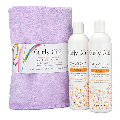 Curly Girl Shampoo, Conditioner & Anti Frizz Microfiber Towel ()