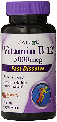 Natrol Vitamin B12 HFF Fast Dissolve Nutritional Supplements, Strawberry, 5000 mcg 51Al0setqFL