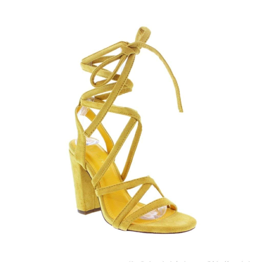 8fdb268bce7 Amazon.com: Liliana Sage-133 Yellow Chunky Lace-Up Open Toe Heels: Shoes