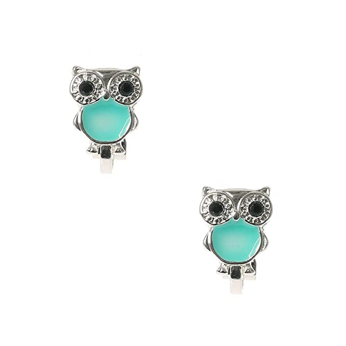 Claires Girls Cute Silver /& Turquoise Owl Clip On Earrings