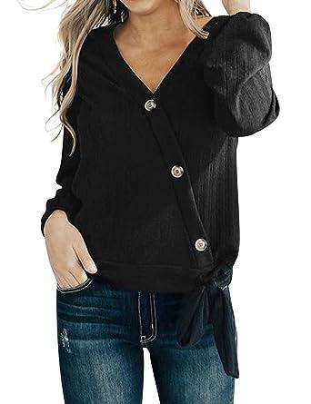 YUHX Camisa de Gasa de Color Liso para Mujer Blusa con Cuello en V ...