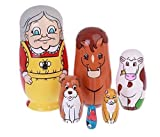 Cutie Lovely Grandma and Animals Nesting Dolls Matryoshka Madness Russian Doll Popular Handmade Kids Girl Gifts Toy(Set of 6)
