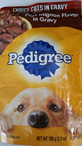 4- Pedigree Choice Cuts in Gravy Filet Mignon Flavor in Gravy (3.5 oz Each) by Pedigree