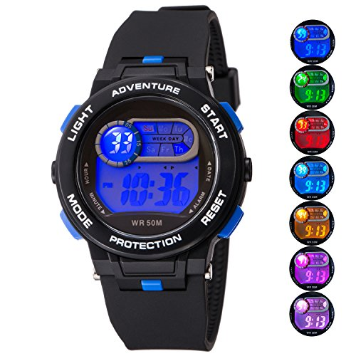 Kid Watch For Boy Girl LED Multi Function Fashion Sport Outdoor Digital Wristwatch Dress Waterproof Alarm Black