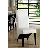 Furniture of America Marcello High-Back Leatherette Dining Chair, White, Set of 2