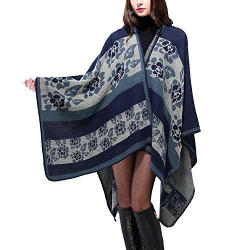 Poncho Châle Vintage Femme - Foulard Écharpe Chaud manteau pour automne - bleu