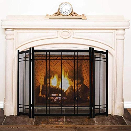 J-暖炉スクリーン 3-パネル51×32インチシンプルな錬鉄の暖炉スクリーン、ホームリビングルームの装飾メッシュ、アウトドアセーフガードスパークカバー スパークガードカバー