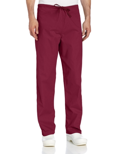 Landau Big and Tall Comfort Stretch One-Pocket Reversible Drawstring Scrub Pant, Wine, Small