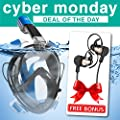 Snorkel Mask Full Face for Kids & Adults - Breathe Naturally; Exciting Snorkeling - Full Face Panoramic Ocean View - No Fog, No Leaks, No Gagging Guaranty!