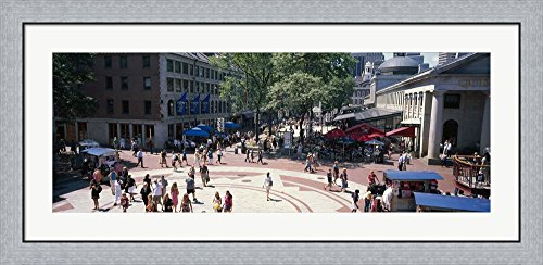 Tourists in a market, Faneuil Hall Marketplace, Quincy Market, Boston, Suffolk County, Massachusetts, USA by Panoramic Images Framed Art Print Wall Picture, Flat Silver Frame, 44 x 20 - Faneuil Marketplace Boston