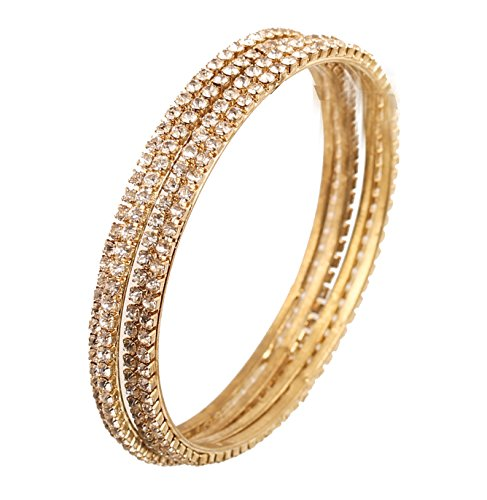 - Touchstone New Golden Bangle Collection Indian Bollywood Sleek Slim Single Line Diamond Look Bangle Bracelets. Set of 4. in Antique Gold Tone for Women.