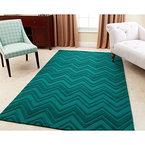 Abbyson Living 5' x 8' New Zealand Wool Rug in Emerald Green