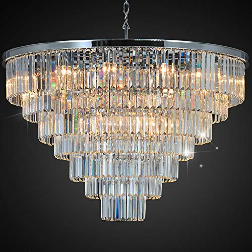 MEELIGHTING Luxury Crystal Chrome Chandelier Lighting Modern Contemporary Chandeliers Pendant Ceiling Lamp Light Fixture 7-Tier for Dining Room Living Room Hotel Showroom (24 Lights) W39.4