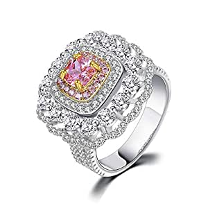 Women Stylish White Gold Plated Square Zircon Cut CZ Anniversary Engagement Wedding Rings 7US