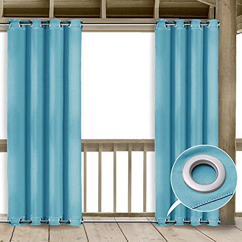 NICETOWN Insulated Patio Door Curtains - Thermal Insulated Windbreak Top and Bottom Grommets Blackout Indoor Outdoor Drape for Pergola (1 Piece,52 by 84-Inch, Turquoise Blue)