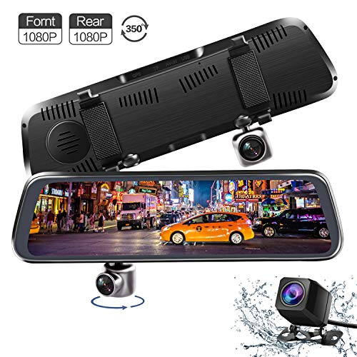 ALWEEN Mirror Dash Cam, V35 10 Inch Full Touch Screen 350 Degrees Rotating Front Camera Dual 1080P Front and Rear View Recording Stream Media Dashboard Camera Car DVR Recorder