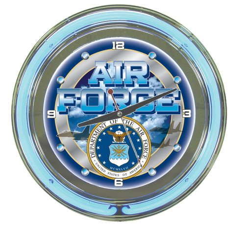 Air Force Chrome Double Ring Neon Clock