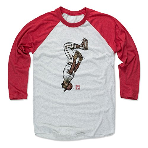 (500 LEVEL Ozzie Smith Baseball Tee Shirt (XXX-Large, Red/Ash) - St. Louis Cardinals Raglan Tee - Ozzie Smith Sketch Backflip R)