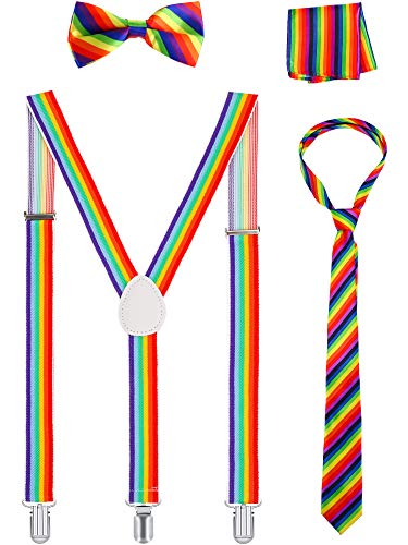 Rainbow Accessories Set Suspender Bow Tie Necktie Kerchief for Cosplay Theme Party (Color 2) -