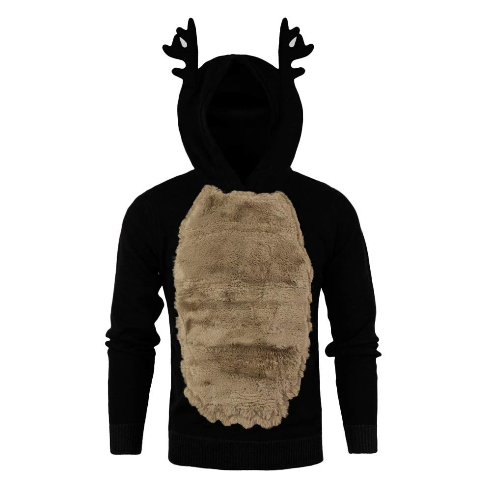 AKIMPE Men Autumn Winter Xmas Hoody Reindeer Feather Hooded Christmas Fur 3D Blouse Top