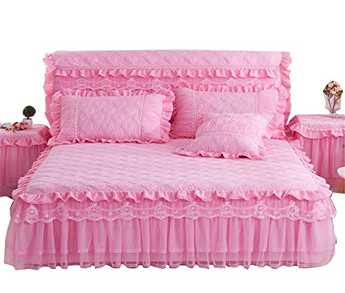 Lotus Karen Lotus Karen Princess Style Pink Bed Skirt Beautiful 3 Layer Lace Ruffle 18 Inches Quilted Bed Skirt for Girls Bed Including 2 Pillowcases price tips cheap
