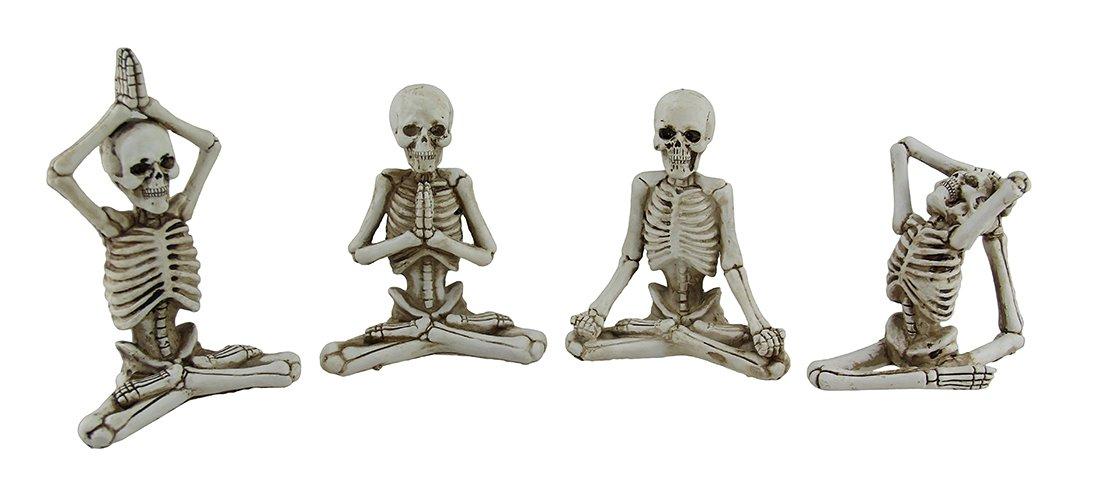 Zeckos 4 Pc. Bone Stretchers Skeletons in Yoga Poses Decorative Statue Set