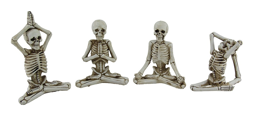 4 Pc. Bone Stretchers Skeletons in Yoga Poses Decorative Statue Set by Transpac Imports