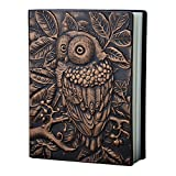 Vintage Handcraft Embossed Owl Antique Diary Notebook Embossed Leather Travel Journals Copper