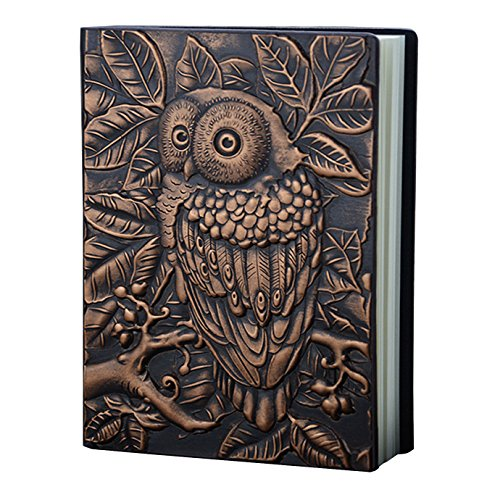 Kennedy Embossed Leather (Faux Leather) Travel Journals Vintage Handcraft Embossed Owl Antique Diary Notebook Daily Weekly Monthly Planner Journal(Copper) (Journal Leather Embossed)