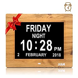 Alarm Clock, Digital Calendar Day Clock, Extra Large Non-Abbreviated Day & Month, Digital Alarm Clock for The Original Memory Loss, Good Gift for The Elderly (8inch/Wood grain) …