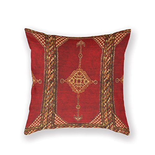 - Cushion Cover Persian Carpet Oriental Antique Decorative Cotton Linen Throw Pillow Covers Square 16 x 16 Inches