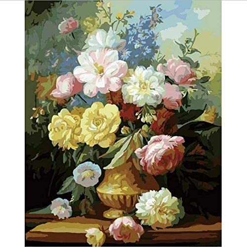 数による絵画 Diyデジタル絵画キット花壁アートリネン絵画アクリルデジタル絵画キットの家の装飾-50*65cm