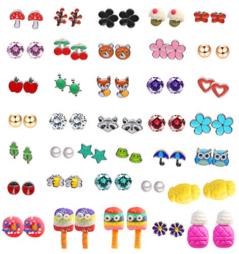 (LOYALLOOK 36Pairs Girls Stainless Steel Earrings Flowers CZ Animals Cute Stud Clay Earring Set)
