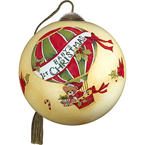 Precious Moments, Ne'Qwa Art 7171162 Hand Painted Blown Glass Petite Round Shaped Baby's First Christmas Ornament, 2.5-inches by Ne'Qwa