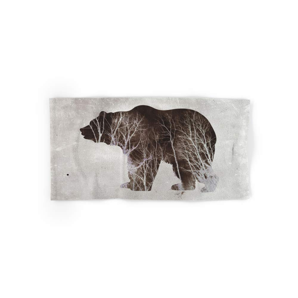 Society6 Bath Towel, 30'' x 15'', Bear in The Woods by miaomiaodesign