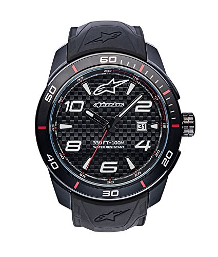 Alpinestars Tech Watch | Men's Analog Watches | 45 MM Stainless Steel case | 100 Meters Water Resistant | Japanese Quartz Movement | Integrated Silicone Wristband (Black/Carbon) from Alpinestars