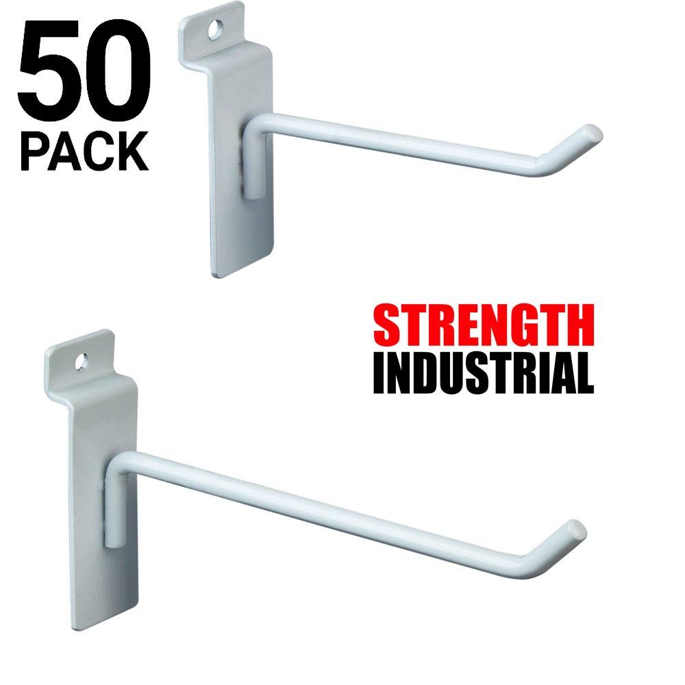 Only Hangers Commercial Grade Slatwall Panel Hooks – Heavy Duty Slatwall Hooks for Any Retail Display, Assortment Pack of 25-4'' Slatwall Hooks + 25-6'' Slatwall Hooks - White Finish
