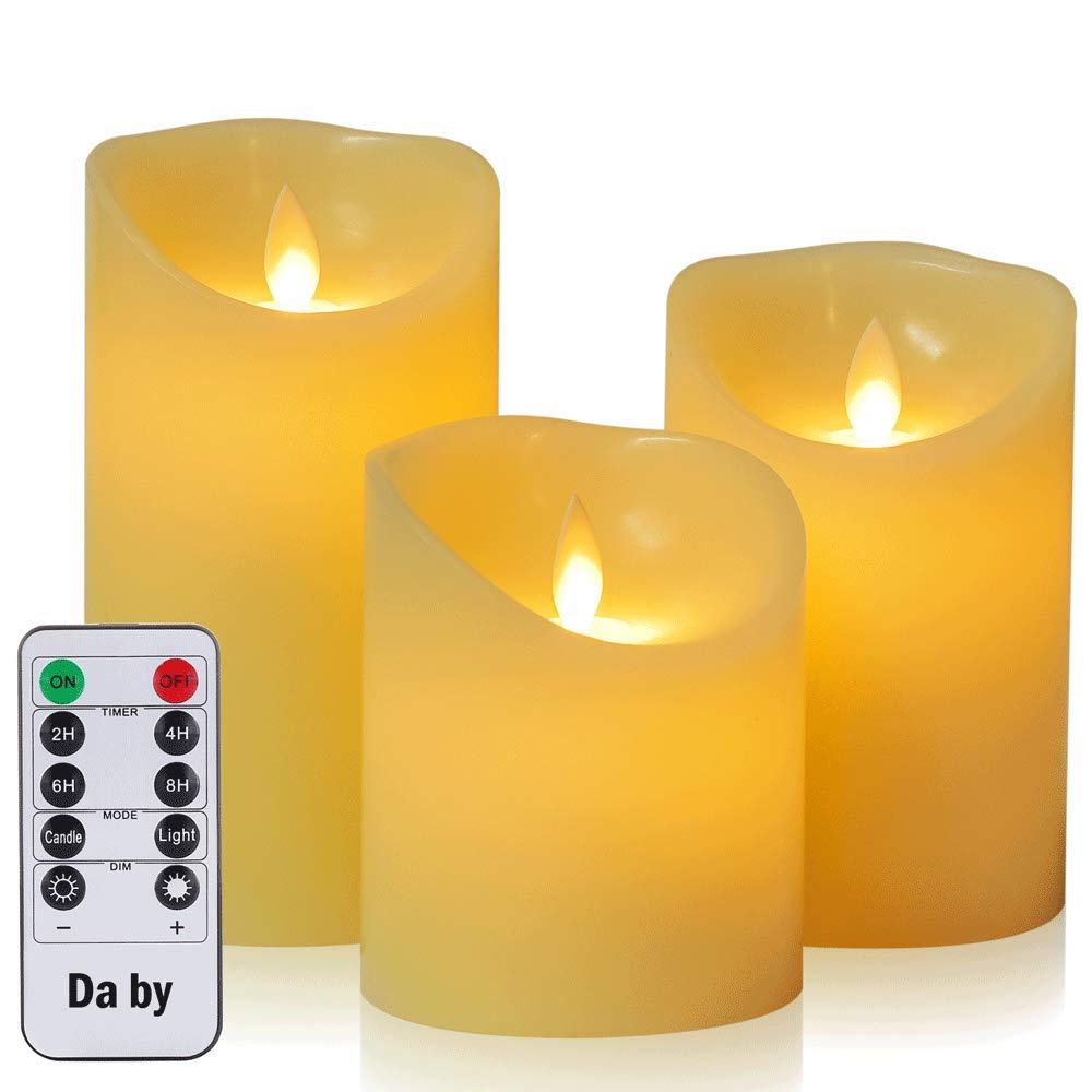 Flameless Candle?Da by 4 5 6 Set of 3 Realistic Dancing LED Flickering Wick for Parties,Home,Public Elegant Events, Battery Powered, 10-Key Remote Control , Ivory Color DBY002