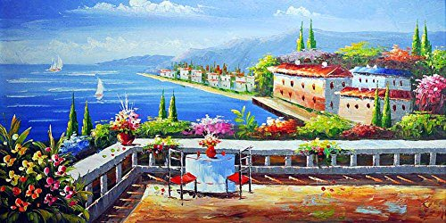LIJIANG Canvas Wall Art Unmounted- Mediterranean Sea Ship Mountain House Balcony Seascape Paintings Prints - 120X60 cm (Approx. 48X24 inch) ()