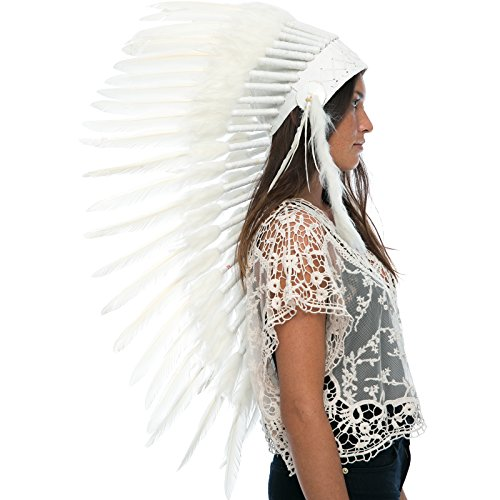 Long Feather Headdress- Native American Indian Inspired- Handmade by Artisan Halloween Costume for Men Women with Real Feathers - All White (Raider Mascot Costume)