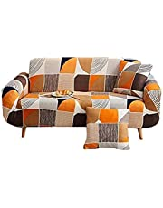 nordmiex Pattern Sofa Slipcover Stretch Arm Chair Large Sofa Slipcover Leather Furniture Protector for 4-Seat Sofa with 2 Pillow Cases,White/Grey/Brown/Orange