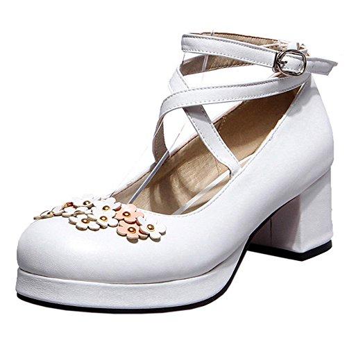 Bowknot Talons Escarpins Femmes Moyens White RAZAMAZA 703 wn1aIOPaq