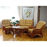 Jam Rattan Wicker Living Room Set 4 Pieces 2 Lounge Chair Loveseat/sofa Coffee Table Colonial (Light Brown) with Light Brown cushions