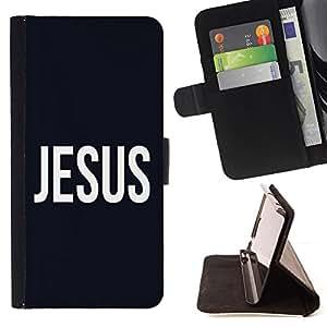 BullDog Case - FOR/Samsung Galaxy S5 Mini, SM-G800 / - / JESUS /- Monedero de cuero de la PU Llevar cubierta de la caja con el ID Credit Card Slots Flip funda de cuer