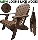 DuraWeather Poly Classic Folding Adirondack Chair Wood Grain Looks Exactly Like Wood – Made in U.S.A – 350 lb Weight Capacity – King Size (Antique Mahogany)